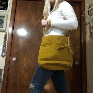 Handbags - Mustard suede bag